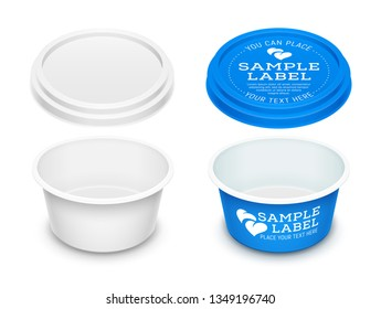 Vector empty open round plastic container with label for butter, melted cheese or margarine spread. Mockup isolated over a white background. Packaging template illustration.