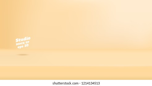 Vector Empty pastel beige cream color studio table room background ,product display with copy space for display of content design.Banner for advertise product on website