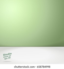 Vector of Empty pastel green two tone color studio room background ,Template mock up for display of product,Business backdrop