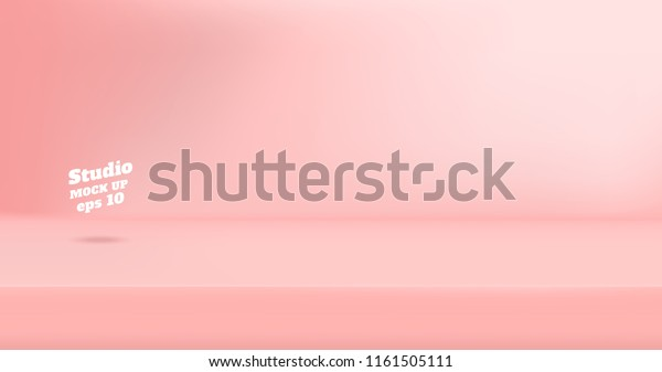Vector Empty pastel pink color studio table room background ,product display with copy space for display of content design.Banner for advertise product on website
