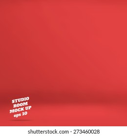 Vector : Empty red studio room background ,Template mock up for display of product,Business backdrop