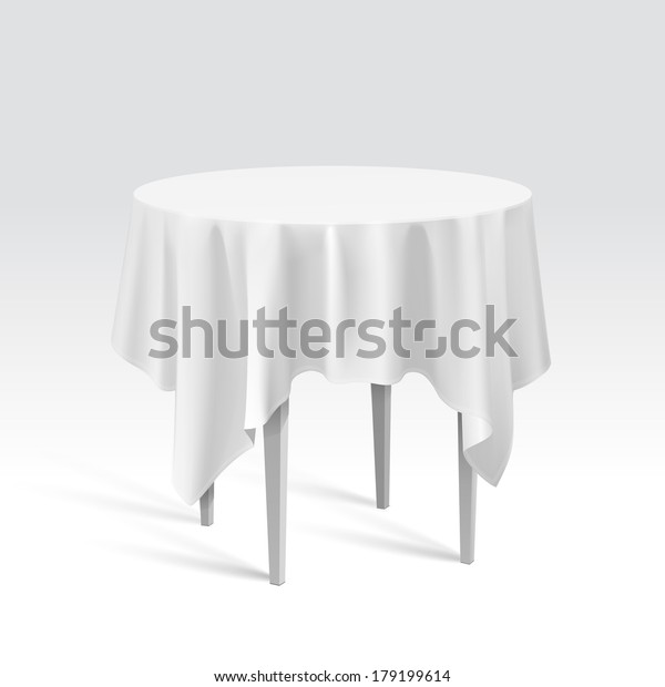 Round Table With Tablecloth.Vector Empty Round Table Tablecloth Isolated Stock Vector Royalty