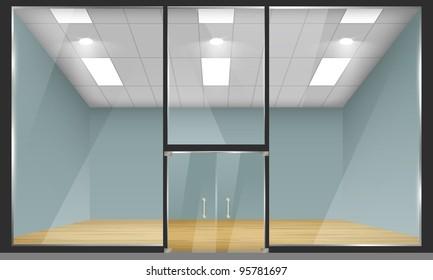 Vector empty shop interior, front view. Part of set.