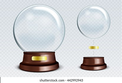Vector Empty Snow Globe. White transparent glass sphere on a stand with Metal Sign with glares and highlights. Glass Dome.