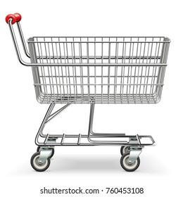 Vector Empty Supermarket Cart isolated on white background