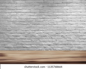 Vector empty top of natural wooden table and retro white brick wall background. Loft workspace concept