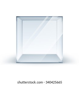 Vector Empty Transparent Glass Box Cube Isolated on White Background