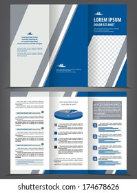 Vector empty trifold brochure print template design with blue and gray elements