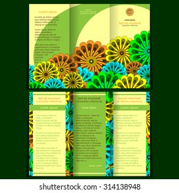 Vector empty trifold brochure print template design with floral elements. 10 EPS