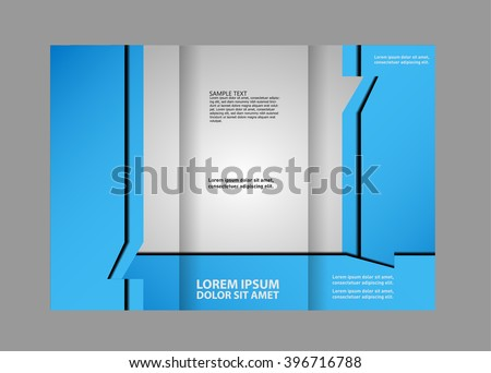 Vector Empty Trifold Brochure Print Template Stock Vector (Royalty