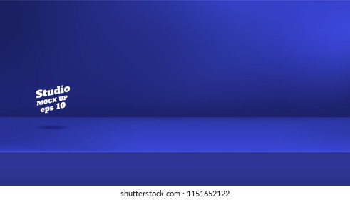 Vector, Empty vivid navy blue color studio table room background ,product display with copy space for display of content design.Banner for advertise product on website
