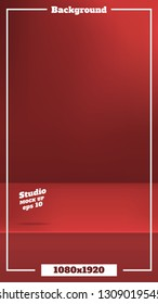 Vector Empty vivid red color studio table background in 1080 by 1920 size,product display with copy space for display of content design.Instagram Banner for advertise product on website