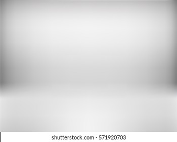 Vector, empty white, gray color studio room background. Template mock up for display or montage of product. Business realistic backdrop. Material design.