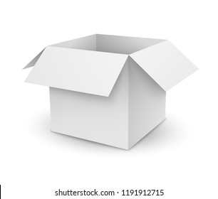 Vector empty white opened cube cardboard box with shadow isolated on white background
