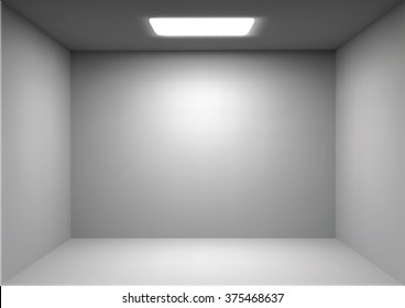Vector empty white room. Render 3D. Perspective with Light and Ambient Occlusion