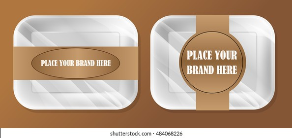 Vector empty white styrofoam plastic food tray container box mockup with ribbon ready for your design, over brown background