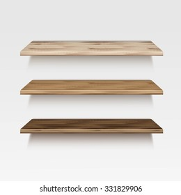 Vector Empty Wooden Wood Shelf Shelves Isolated on Wall Background