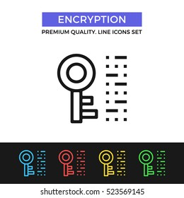 Vector encryption icon. Decode, encode information concept. Premium quality graphic design. Modern signs, outline symbols, simple thin line icons set for websites, web design, mobile app, infographics
