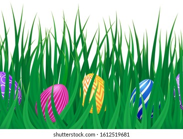 Vector endless border with realistic green grass meadow and colorful Easter eggs. Cute Seamless pattern for Happy Easter card, template, card, design, cover. Spring festive design with decorated eggs.