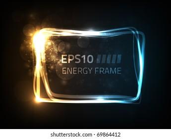 Vector energy frame against dark background