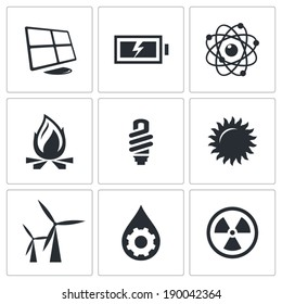 Vector energy icons set