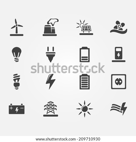 Vector Energy Icons Set Simple Electricity Stock Vector Royalty
