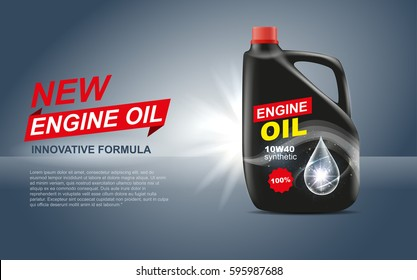 vector engine oil canister design advertising promotional template