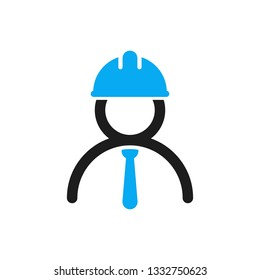 Vector engineer icon. Stylized logo of human in blue hard hat and tie. Engineering sign