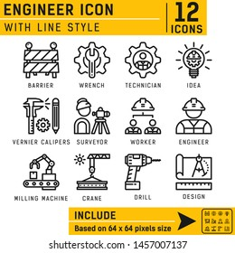Vector engineer outline icon set for all projects on isolated white background. Engineer icon set contains such icons cogwheel, power drill , vernier caliper, surveyor, crane, wrench, worker and other