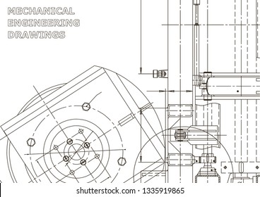 Vector engineering illustration. Instrument-making drawings. Mechanical engineering drawing. Computer aided design systems. Technical illustrations, backgrounds. Blueprint