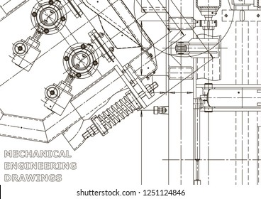 Vector engineering illustration. Mechanical engineering drawing. Instrument-making drawings. Computer aided design system