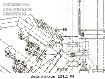 Vector engineering illustration. Mechanical engineering drawing. Instrument-making drawings. Computer aided design systems. Technical
