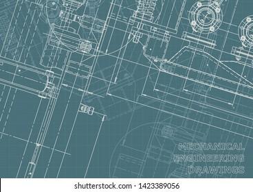 Vector engineering illustration. Mechanical instrument making