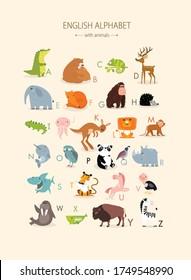 Vector english alphabet with animals for children. educational poster with cute animals. Cartoon animals: crocodile, bears, chameleon, elephant, tiger, lion, fox, kangaroo, panda, monkey, unicorn