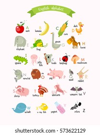 Vector English alphabet with cartoon animals and food. fruits, vegetables, apple, duck, elephant, yogurt, rabbit, whale, banana, corn, zebra, horse, pig, koala. Poster for the children. abc