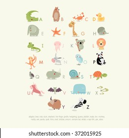Vector English alphabet for children with cute animals. The crocodile, bear, whale, koala, panda, giraffe, elephant, yak, zebra, rhino, owl, duck, hedgehog, lion, turtle. It can be used as poster