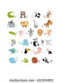 Vector English alphabet with cute animals. The crocodile, bear, whale, koala, panda, goose, elephant, yak, zebra, rabbit, octopus, dog, hedgehog, lion, toucan, cow. It can be used as poster