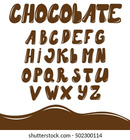 Vector English alphabet, drawn in chocolate style