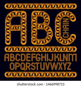Vector English alphabet letters, abc collection. Capital decorative font created using connected chain link.