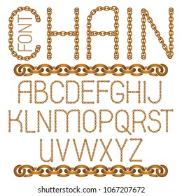 Vector English alphabet letters collection. Capital decorative font created using connected chain link.