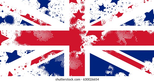 Vector English grunge flag. Union Jack. Using for decoration works.