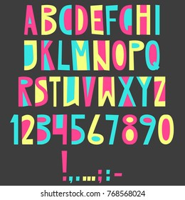 Vector English latin alphabet. Letters, numbers, symbols. Isolated font, comic cartoon style. Colorful