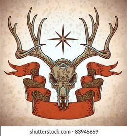 vector engraved deer skull with ribbon