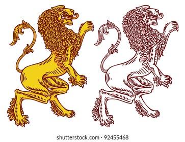 vector engraved heraldic lions