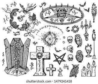 Vector engraved illustration in gothic and mystic style. No foreign language, all signs are fantasy