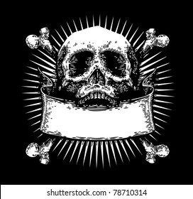 vector engraved skull with ribbon
