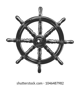Vector engraved style illustration for posters, decoration and print. Hand drawn sketch of ship wheel in monochrome isolated on white background. Detailed vintage woodcut style drawing.