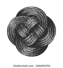 Vector engraved style illustration for posters, decoration and print. Hand drawn sketch of rope knot in monochrome isolated on white background. Detailed vintage woodcut style drawing.