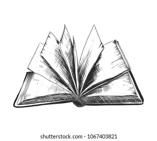 Vector engraved style illustration for posters, decoration and print. Hand drawn sketch of open book in monochrome isolated on white background. Detailed vintage woodcut style drawing. Book