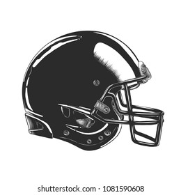Vector engraved style illustration for posters, decoration and print. Hand drawn sketch of football helmet in monochrome isolated on white background. Detailed vintage woodcut style drawing.